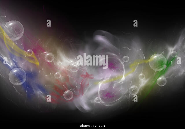 Abstract  composed of colored unfocused smoke, lights and objects on the black background. - Stock-Bilder