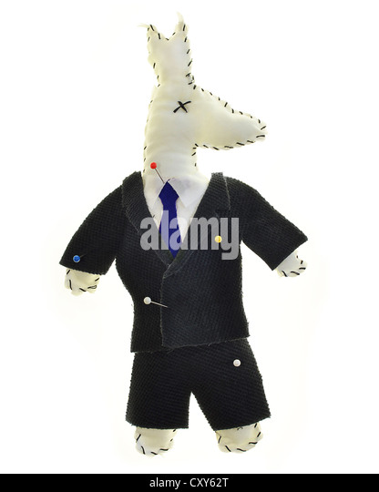 Concept Photo of a Home made Voodoo Doll in the Shape of the Democrat Donkey on White - Stock Image