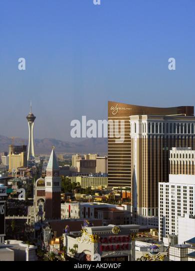 Las Vegas Nevada Skyline aerial Las Vegas strip - Stock Image