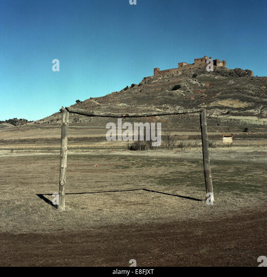 Spain, Wooden goal post - Stock Image