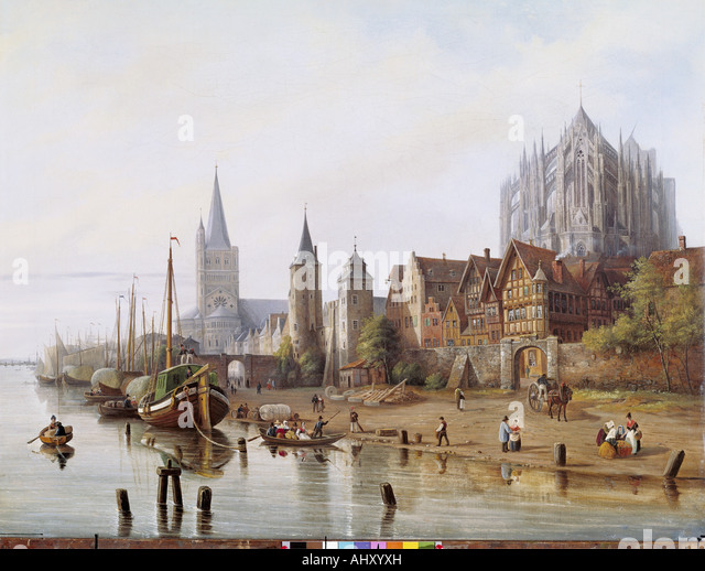 'fine arts, Hintze, Johann Heinrich, (1800 - 1862), painting, 'Rheinufer bei Köln', ('bank - Stock-Bilder