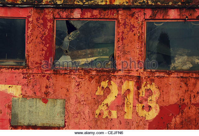 Detail of an Old Discarded Train - Stock Image