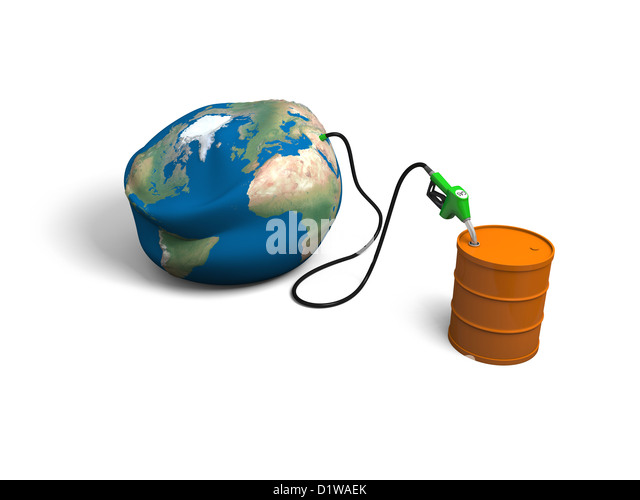 Concept of oil depletion with illustration of oil pump, pumping out oil from deflated Earth into petrol barrel, - Stock Image