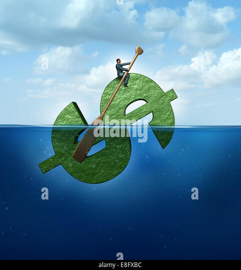 New markets concept as a financial destination and journey business concept as a businessman floating in the ocean - Stock-Bilder