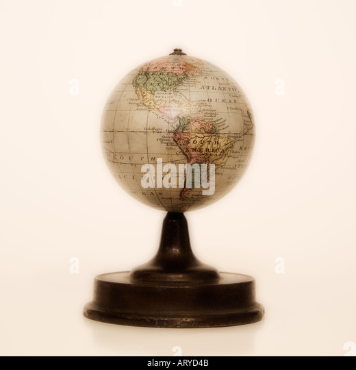 Antique globe on stand - Stock Image