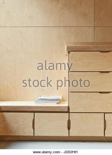 Details view of drawers and storage in kitchen. Studio Totnes, Totnes, United Kingdom. Architect: David Sheppard - Stock-Bilder