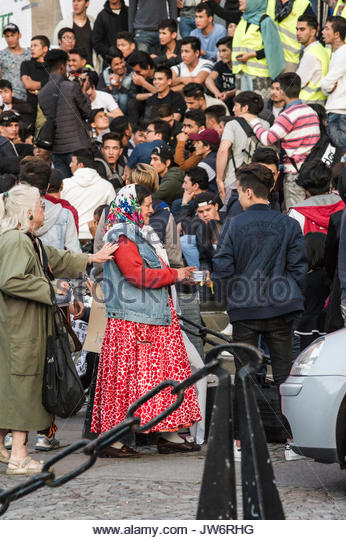 Medborgarplatsen, Stockholm, Sweden, August 10, 2017. 'Stop the expulsion of Afghan refugees'. Unaccompanied - Stock Image