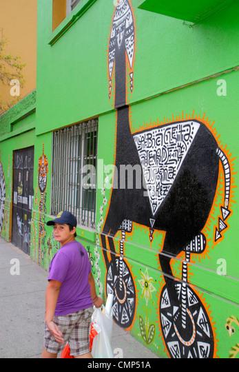 Santiago Chile Barrio Patronato Avenida Santa Maria immigrant neighborhood mural street art artist Juanita Perez - Stock Image