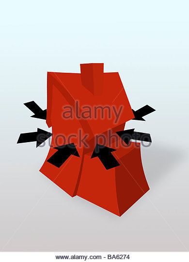 Arrows squeezing house - Stock Image
