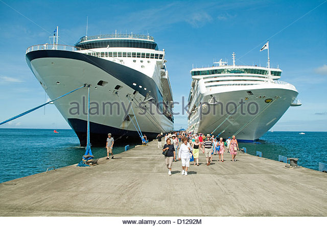 Grenada St George Town Outer Harbour Cruise Liners Caribbean - Stock Image