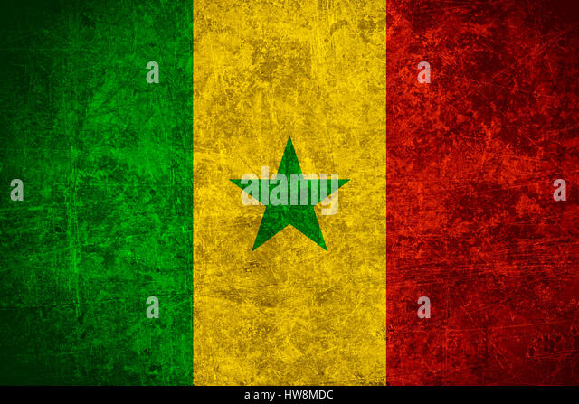 flag of Senegal or Senegalese banner on scratched vintage texture - Stock Image