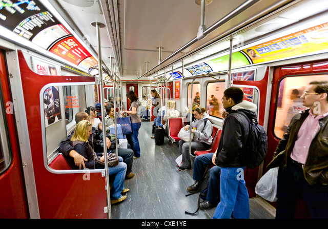 Interior of subway train, Toronto, Ontario, Canada, North America - Stock Image