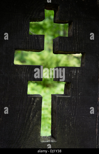 Wooden orthodox cross on abandoned cemetery Jaworzec village Bieszczady mountains Subcarpathian Voivodeship south - Stock Image
