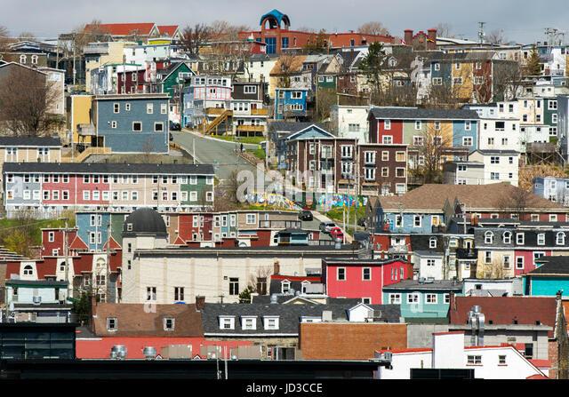 Colorful city of St. John's, Avalon Peninsula, Newfoundland, Canada - Stock Image