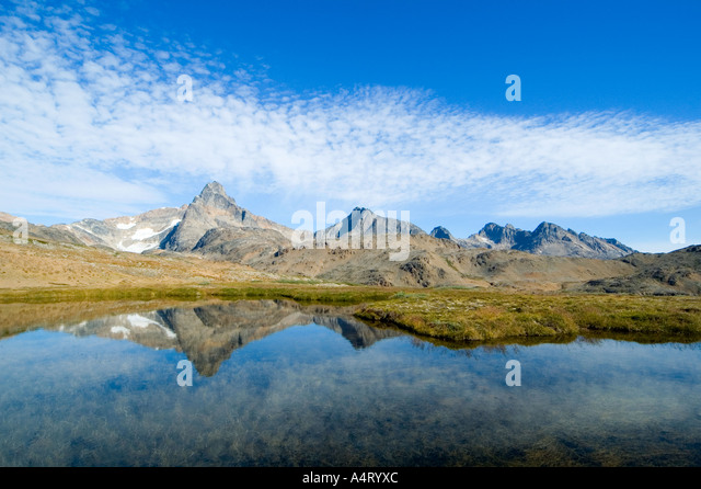 The Polhems Fjeld mountains, Angmagssalik Island, Sermilik Fjord, East Greenland - Stock Image
