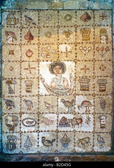 Beit Ed-dine Lebanon Mosaic From Ouza'i 5 Century Ad - Stock Image