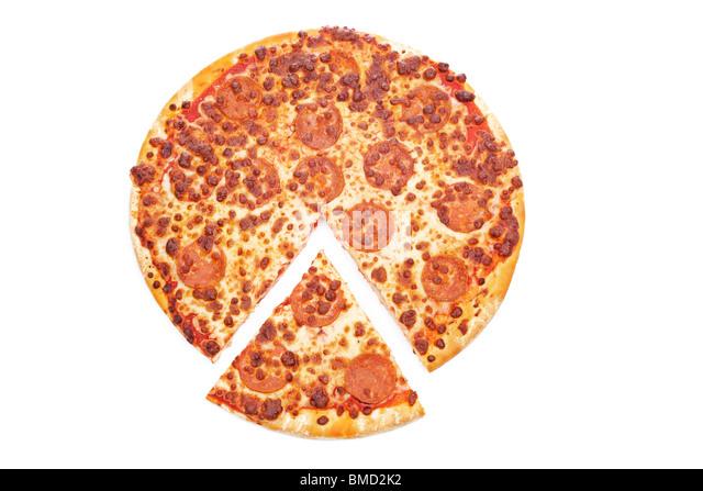 Tasty Italian pizza, isolated on white background - Stock Image