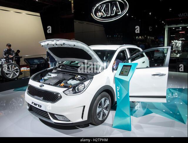 View of new Kia Niro hybrid Crossover vehicle at Paris Motor Show 2016 - Stock Image