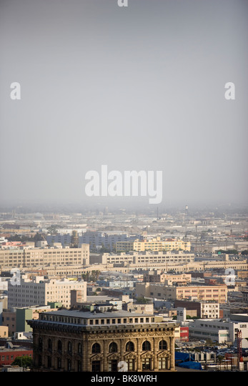 USA, California, Los Angeles, skyline with smog - Stock Image