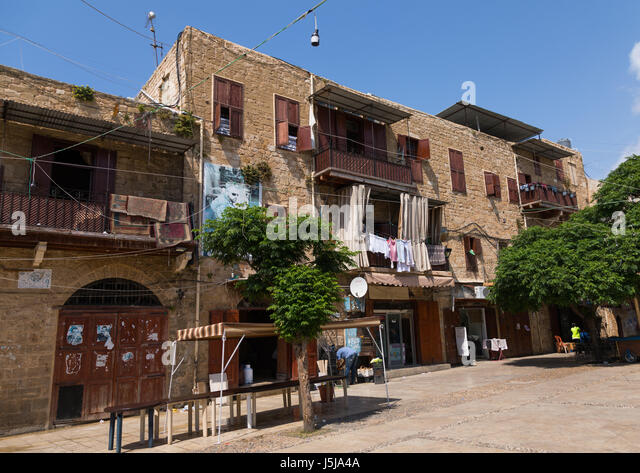 Old houses in the main square, South Governorate, Sidon, Lebanon - Stock-Bilder