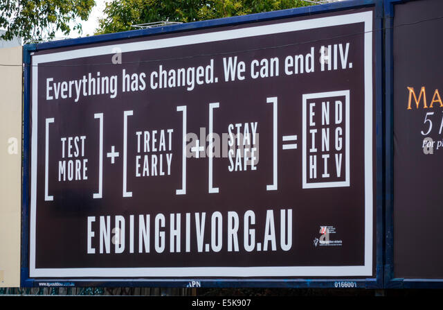 Melbourne Australia Victoria billboard HIV AIDS educating testing promoting awareness - Stock Image