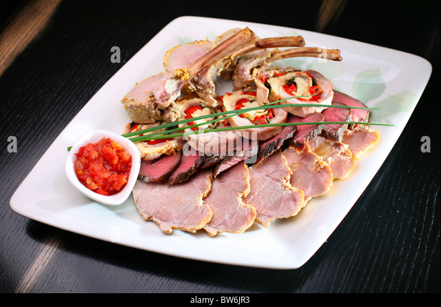 boiled meat - Stock Image