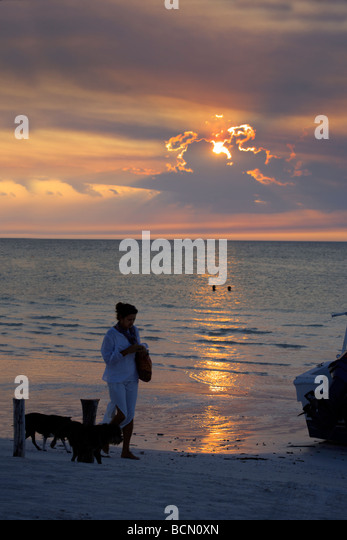 Woman walking dogs on the beach enjoying the sunset over Holbox island, Quintana Roo, Yucatán Peninsula, Mexico, - Stock Image