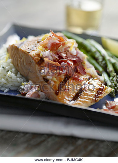 Grilled Salmon Dinner - Stock Image