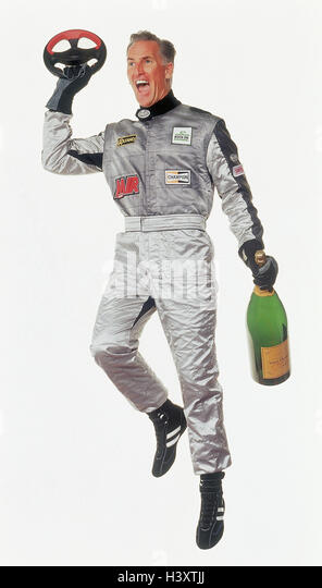 Motor sport, racing driver, overall, silver, tax, champagne Bottle, gesture, victory, cheering, joy sport, racing - Stock Image