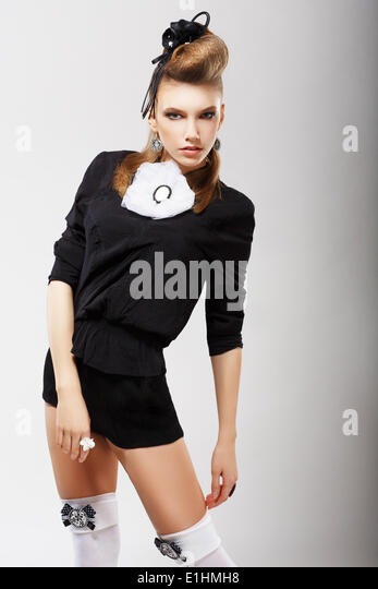 Individuality. Charismatic Fashion Model in Trendy Clothes. Haute Couture - Stock Image