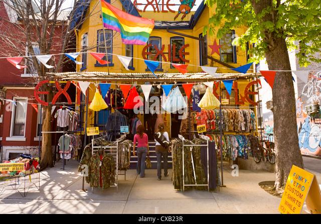 Kensington Market, a designated National Historic Site of Canada, Toronto, Ontario, Canada, North America - Stock Image