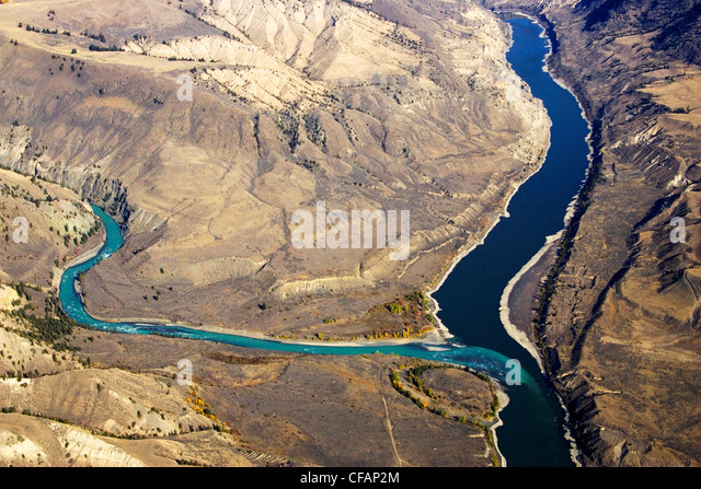 Aerial of the junction of the Chilcotin & Fraser Rivers in British Columbia, Canada - Stock Image