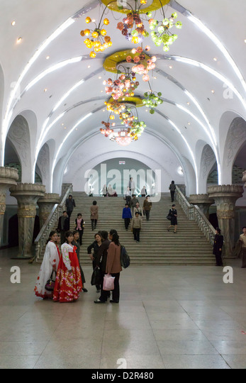 One of the many 100 metre deep subway stations on the Pyongyang subway network, Pyongyang, North Korea - Stock Image