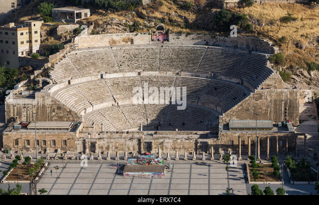 view of Roman theatre, Amman, Jordan - Stock Image