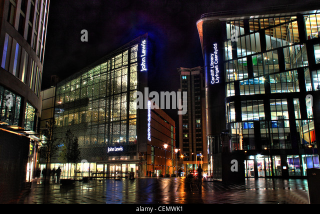 Cardiff John Lewis The Hayes Shopping centre and Library at Night, Wales, UK - Stock Image
