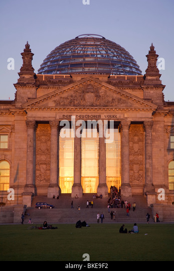 Reichstag building at sunset in Berlin Germany - Stock Image