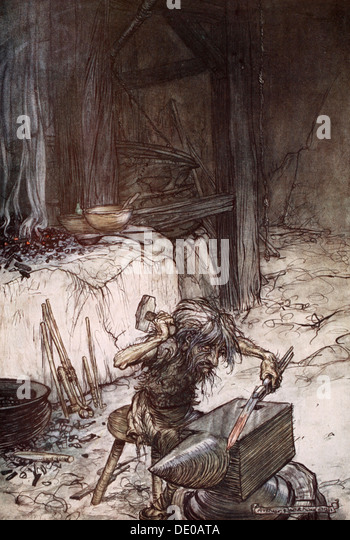 'Mime at the anvil', 1924.  Artist: Arthur Rackham - Stock Image