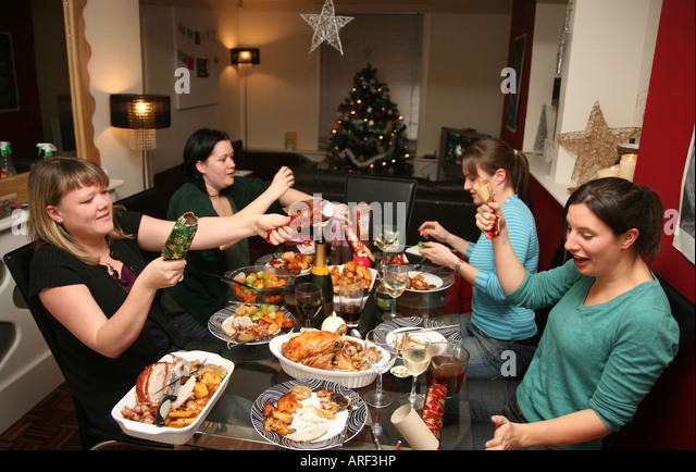Dinner Party Christmas - Stock-Bilder