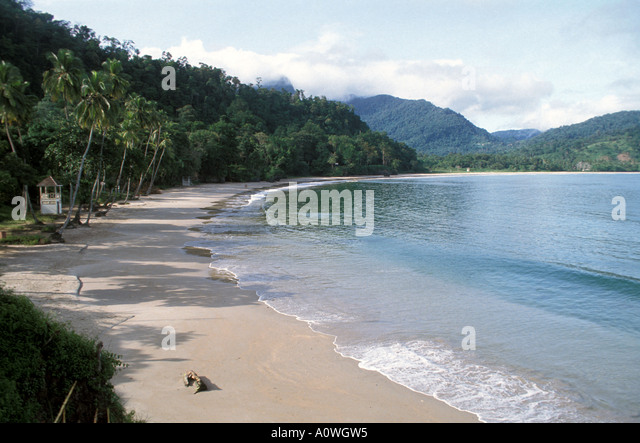Maracas Bay Beach tropics tropical beaches palm trees mountains Trinidad - Stock Image