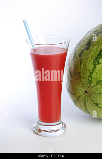 Closeup of a glass of Watermelon Juice. - Stock Image
