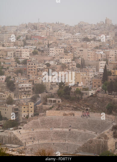 Amman Roman Theater seen from Amman Citadel - Stock Image
