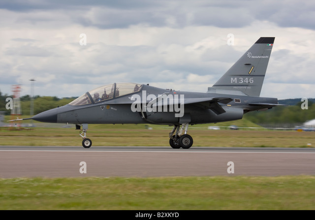 AleniaAermacchi latest M-346 advanced trainer displayed at Farnborough International Airshow 2008, United Kingdom. - Stock Image