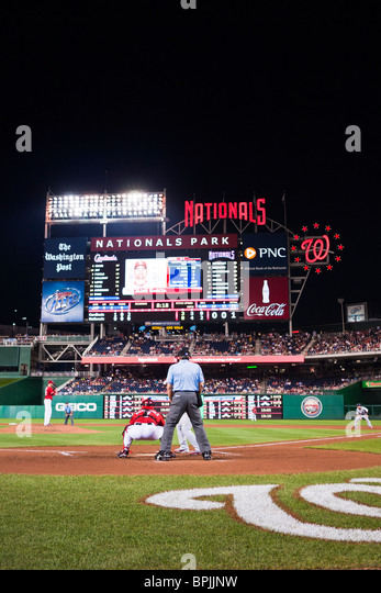 View from immediately behind home plate of the Washington Nationals vs the St Louis Cardinals. The Cardinals won - Stock Image
