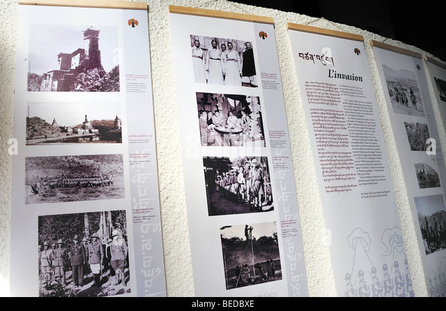Archival Photo Collection of 'Dalai Lama', on Display,  Buddhist Temple, Tibetan Festival Tibet History - Stock Image