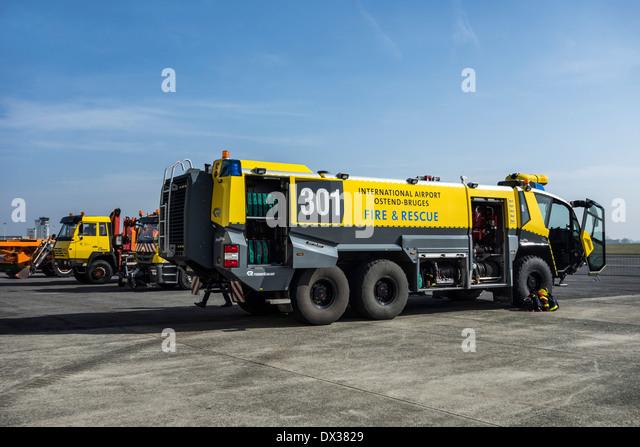 Airport crash tender Rosenbauer Panther CA-5 6×6 at the Ostend aerodrome, Belgium - Stock Image