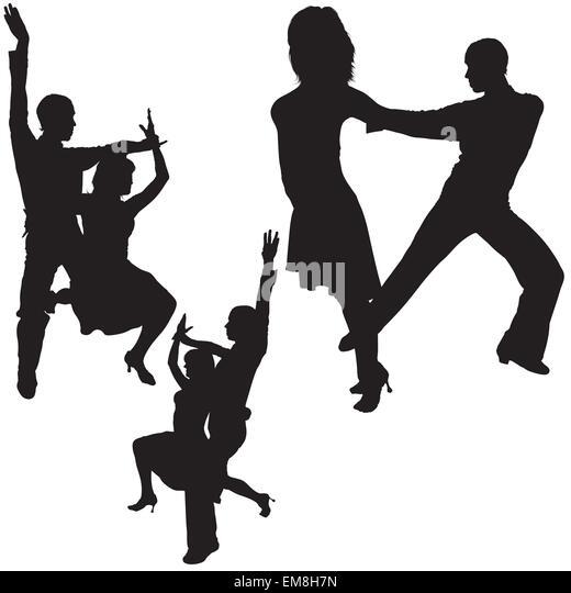 Latino Dance Silhouettes - Stock Image