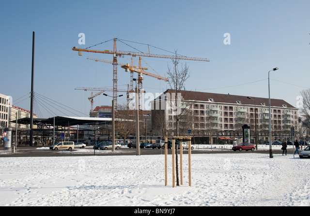 Construction work in the old city, Dresden, Germany. - Stock Image