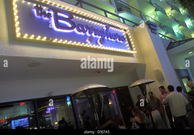 Nevada Las Vegas The Strip Convention Center Drive The Barrymore restaurant front entrance sign night nightlife - Stock Image