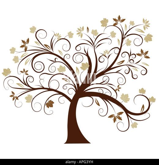 beautiful vector autumn tree design - Stock Image
