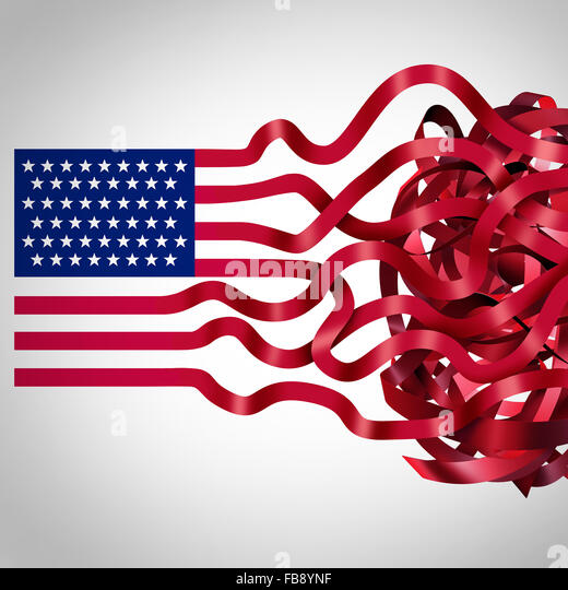 Government red tape concept and American bureaucracy symbol as an icon of the flag of the United States with the - Stock Image